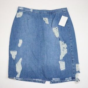 NWT H&M Denim Ripped Skirt - Sz.8